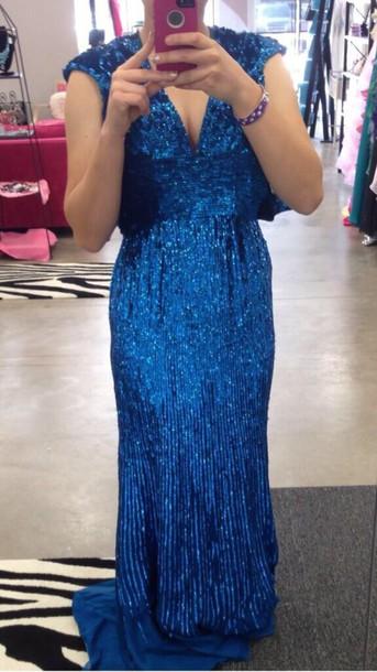 dress royal blue prom dress sequin dress