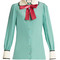 Decorative-bow silk-georgette shirt