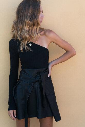 top one shoulder black top plaid skirt skater skirt summer mini skirt summer outfits posse