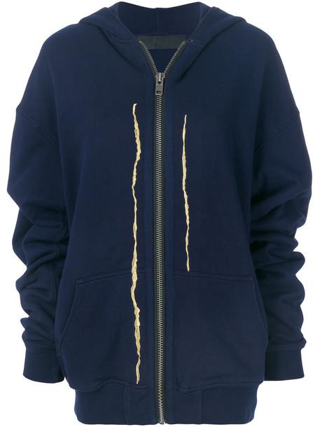 Haider Ackermann hoodie embroidered women slit cotton blue sweater