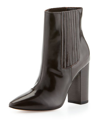 Pour la Victoire Lizette Pointy-Toe Dress Bootie, Chocolate - Neiman Marcus