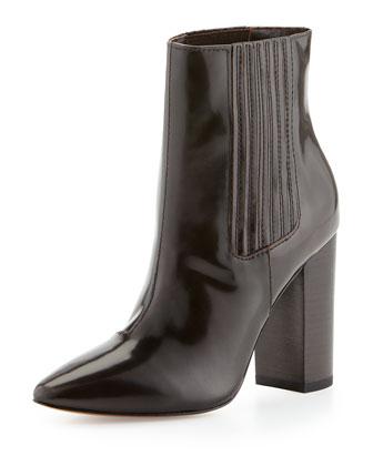 Pour la Victoire Lizette Pointy-Toe Dress Bootie, Chocolate - Neiman Marcus