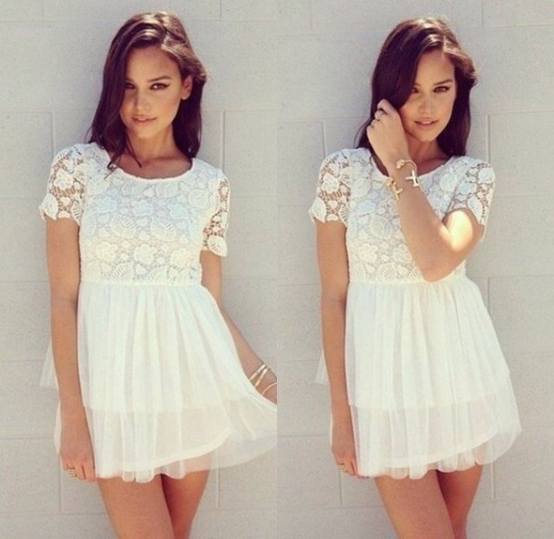 dress lace white tumblr hipster pretty