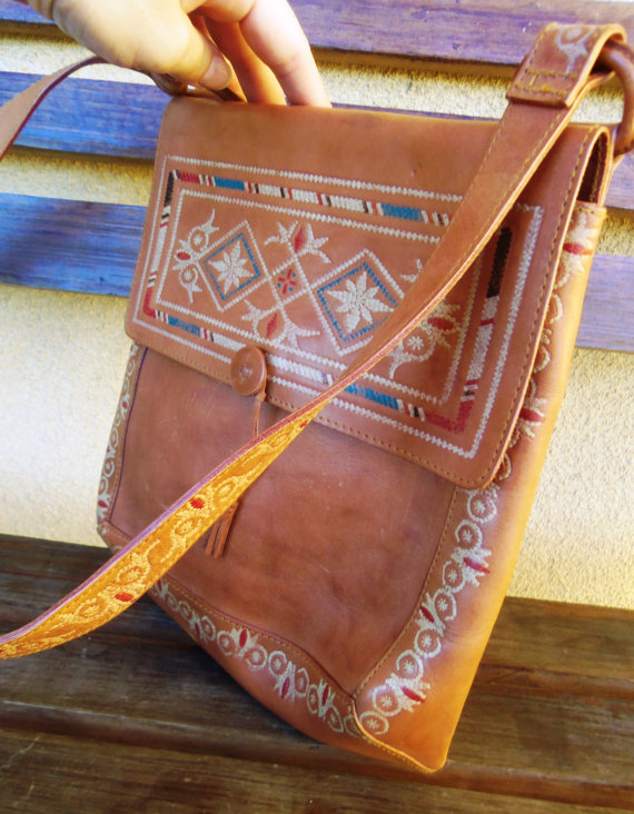 On SALE  Tooled like Vintage Hipster Crossboddy by OceanOfFlowers