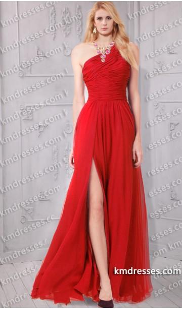 Elegant one shoulder ruched front split chiffon dress