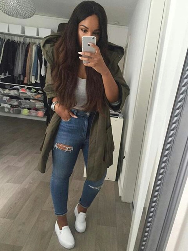 coat green crop tops high waisted jeans outfit idea
