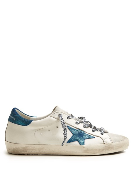 GOLDEN GOOSE DELUXE BRAND top leather white blue