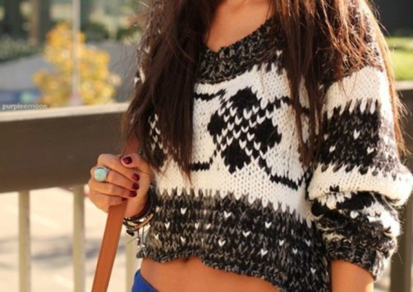 cropped sweater aztec sweater