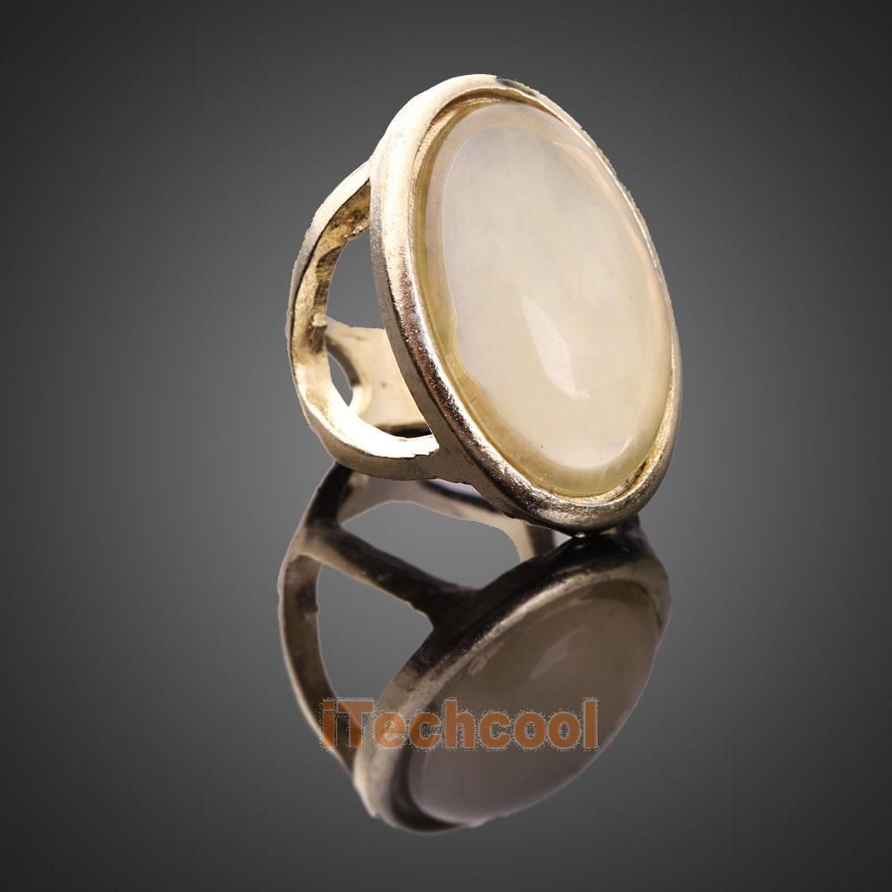 Luxury Vintage Style Woman Light Yellow Oval Gem Stone Golden Finger Ring #T1K