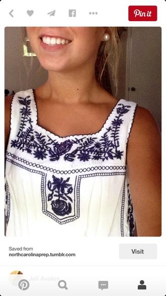 blouse white top blue pattern