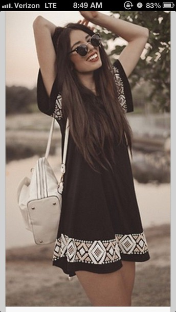 dress black pattern black dress summer dress festival boho dress summer outfits flowy dress boho chic boho indie boho indie dress t-shirt dress purse and sunglasses black aztec dress summer