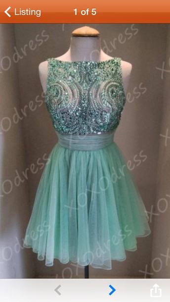 dress prom dress crystals short prom dress