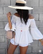 top,off the shoulder,off the shoulder top,bell sleeves,sun hat,shorts,bag,nude bag,hat