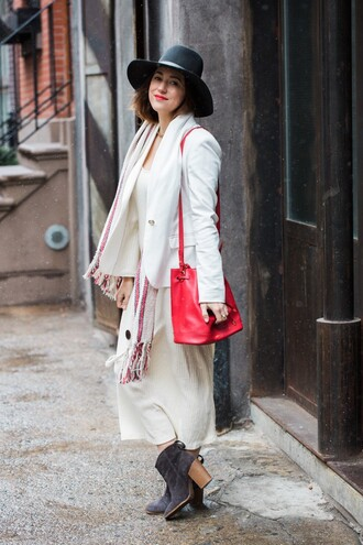 blogger my style pill red bag felt hat white blazer white dress scarf boots
