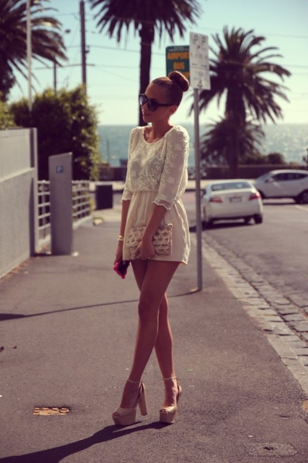 dress white lace creme summer lace dress white lace dress