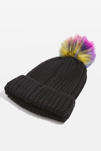 rainbow hat beanie black