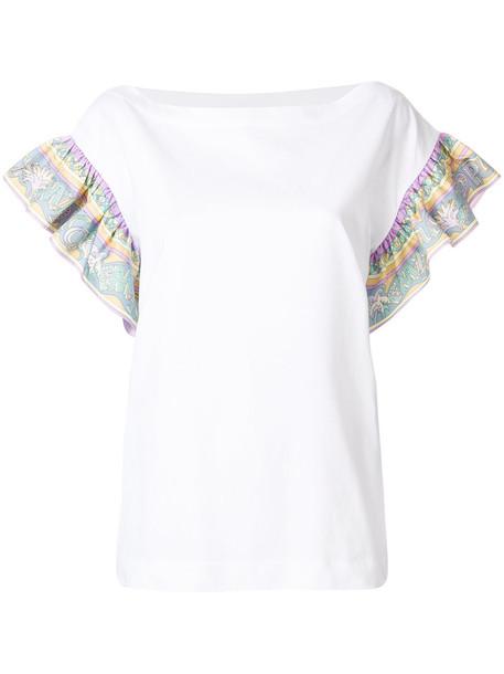 Emilio Pucci - frilled-sleeve top - women - Cotton/Silk - M, White, Cotton/Silk