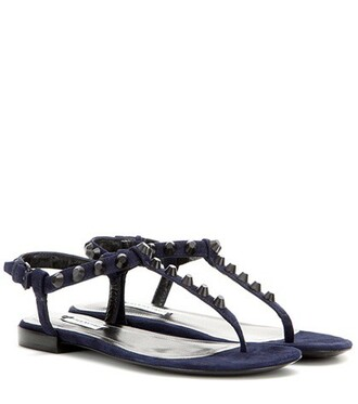 studded classic sandals suede blue shoes