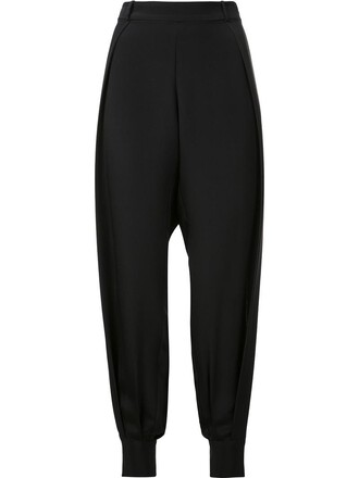 women slit black silk pants