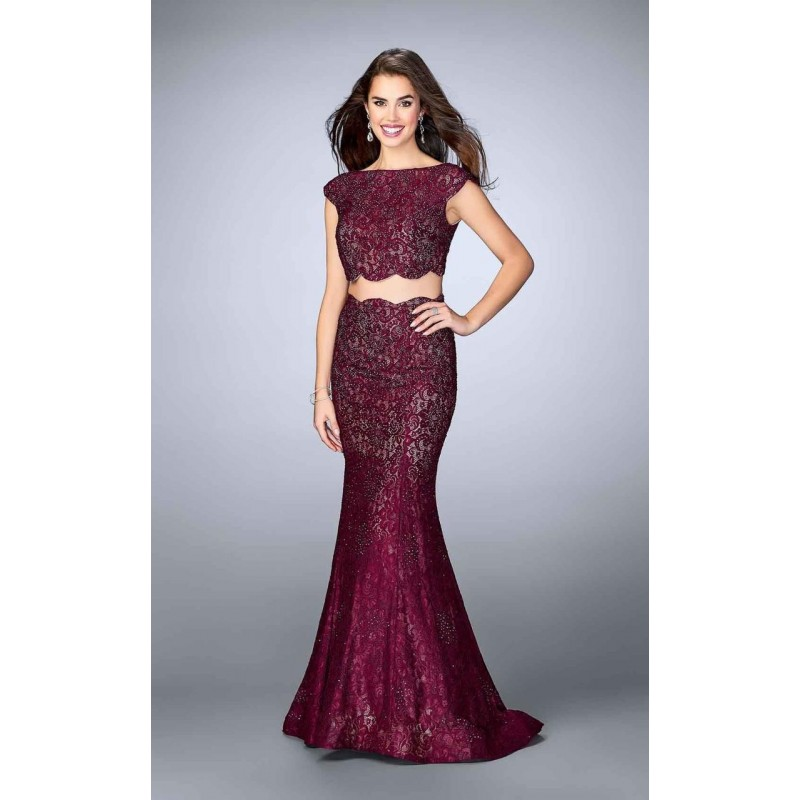 Two Piece Lace Overlay Scallop Edge Detail Long Prom Dress 24047 - Designer Party Dress & Formal Gown
