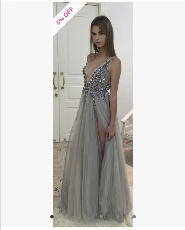 Sexy Paolo Sebastian Evening Dresses 2017 Deep V Neck Sequins Tulle ... 5b8f24896