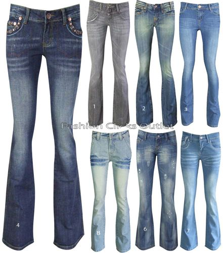 NEW WOMENS STRETCH BOOTCUT DENIM BLUE LADIES JEANS DISTRESSED PAINT SIZE UK 6-20 | Amazing Shoes UK