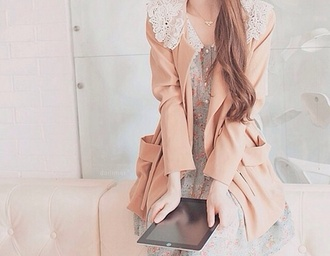 jacket colorful cute dress cute lace dress baby blue flowers kawaii dress lace dress pastel pink pastel pink jacket pastel peter pan collar nude peach