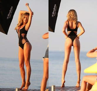 swimwear one piece swimsuit black swimwear abbey clancey summer beach sexy