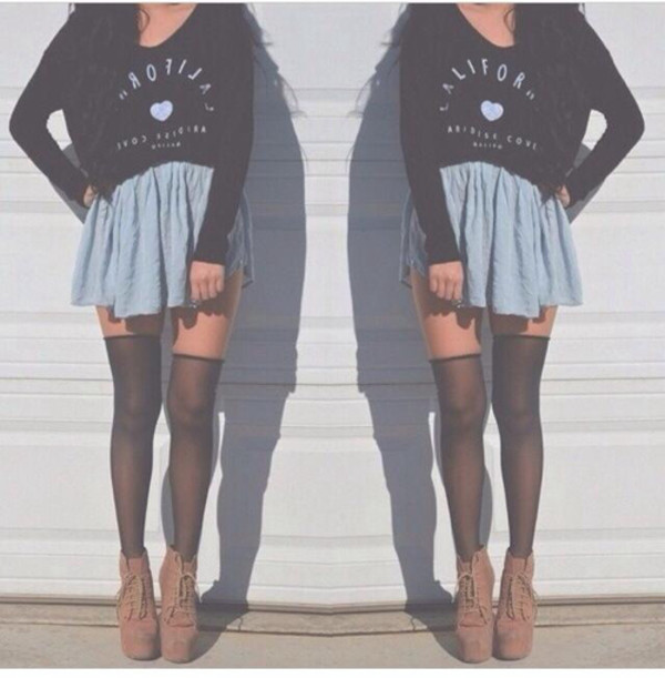 skirt heart top california heels shoes shirt tights style