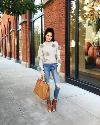 sweater tumblr grey sweater pom poms denim jeans blue jeans ripped jeans high heels peep toe heels bag