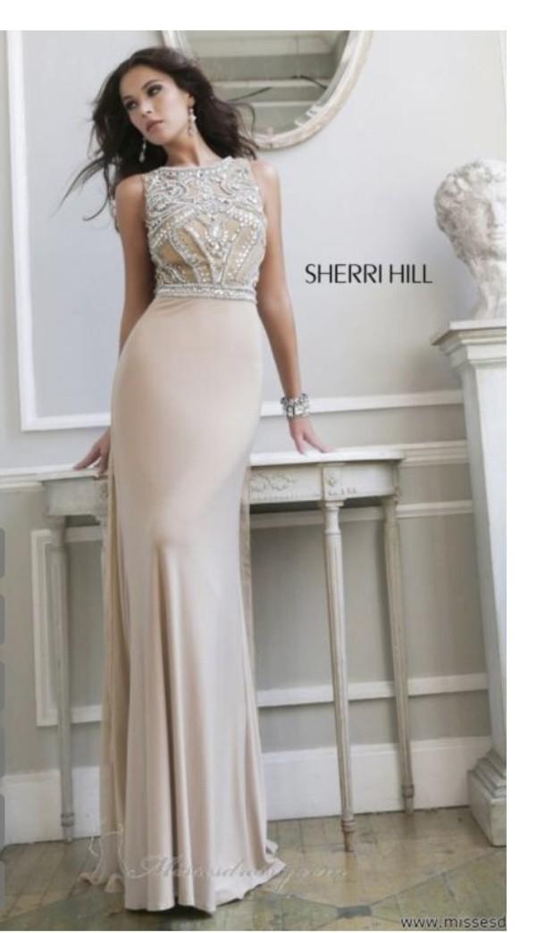 dress beige dress sherri hill formal dress long evening dress prom dress champagne dress