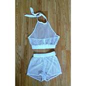 shorts,jumpsuit,where can i get this white 2 piece from,swimwear,top,mesh crop tops,two-piece,net,mesh,summah breeeze,short swt,short set,set,mesh top,mesh shorts,fishnet top,fishnet shorts,white,white shorts