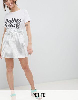 New Look Petite Stripe Paperbag Skirt at asos.com