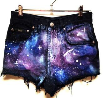shorts galaxy print high waisted shorts