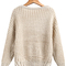Khaki long sleeve hollow knit sweater - sheinside.com