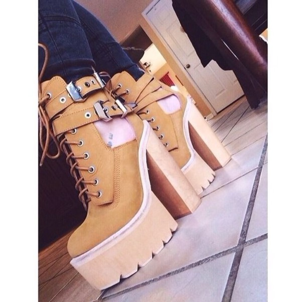 shoes brown high heels lace up