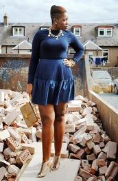 zelda and festus,blogger,top,jewels,blue skirt,necklace,clutch,skirt,belt,shoes