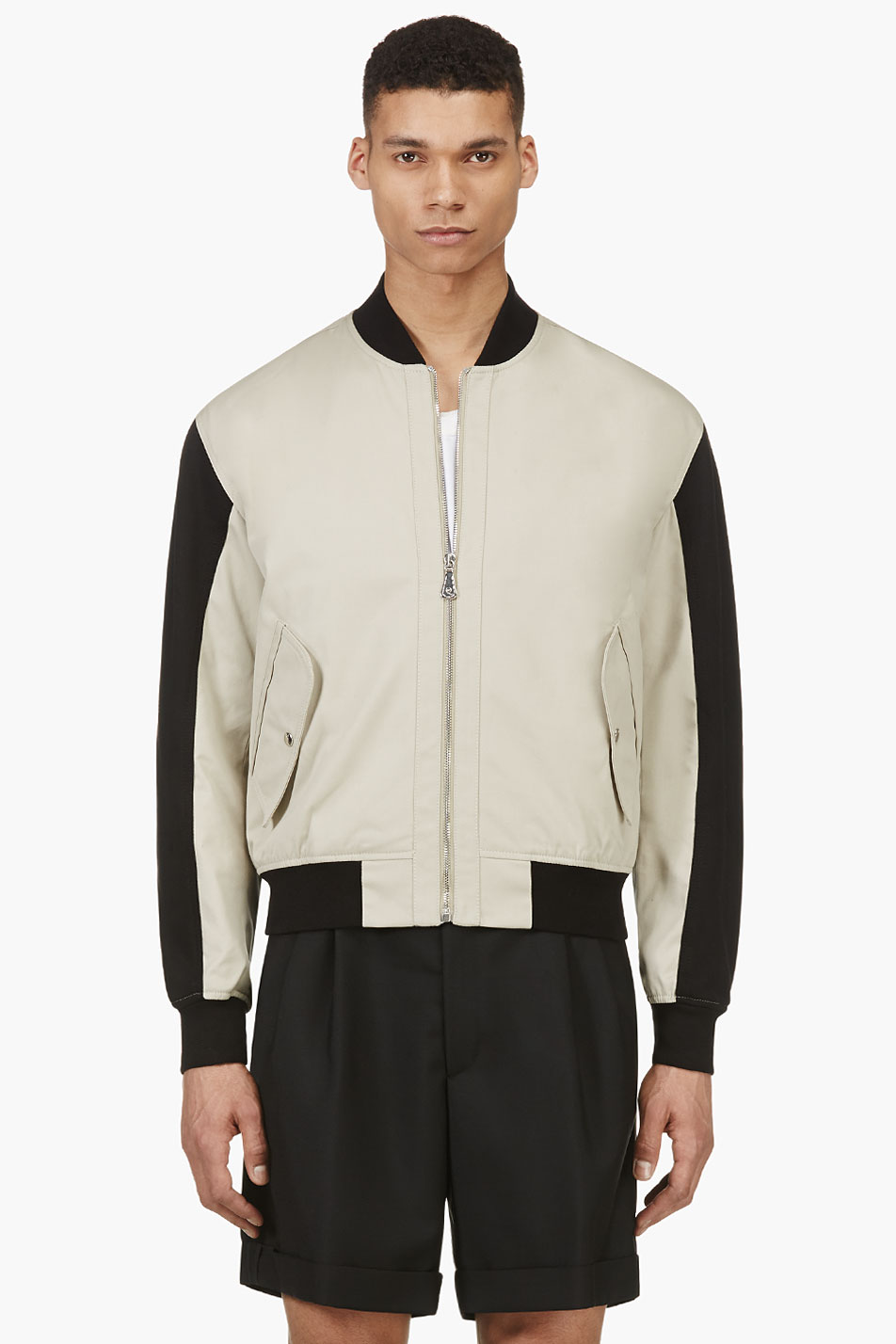 alexander mcqueen beige canvas colorblocked bomber jacket