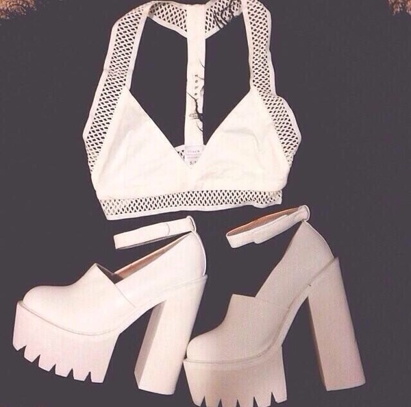 shoes white platforms t-shirt