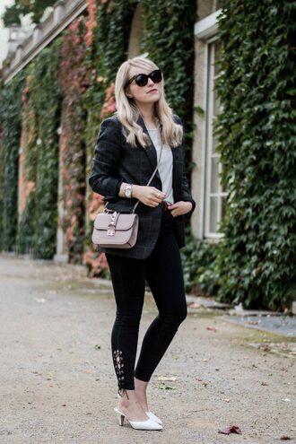 shoes tumblr white top mules denim jeans black jeans blazer grey blazer bag grey bag sunglasses top
