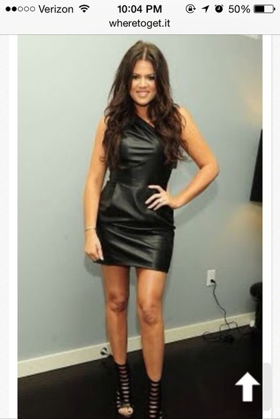 Dress: short dress- black dress- leather dress- khloe kardashian ...