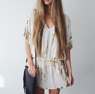 etnic bag dress white dress bag black bag fringed bag fringes summer dress summer outfits outfit casual