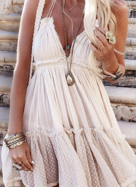 dress boho bohemian boho chic boho dress beautiful fashion make-up bag boho chic dress white lace boho dress high heels white dress jewels