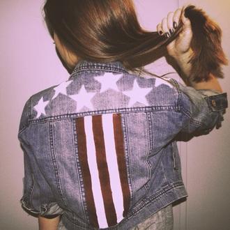 jacket tumblr tumblr outfit denim denim jacket cropped denim vintage jacket hipster indie american apparel