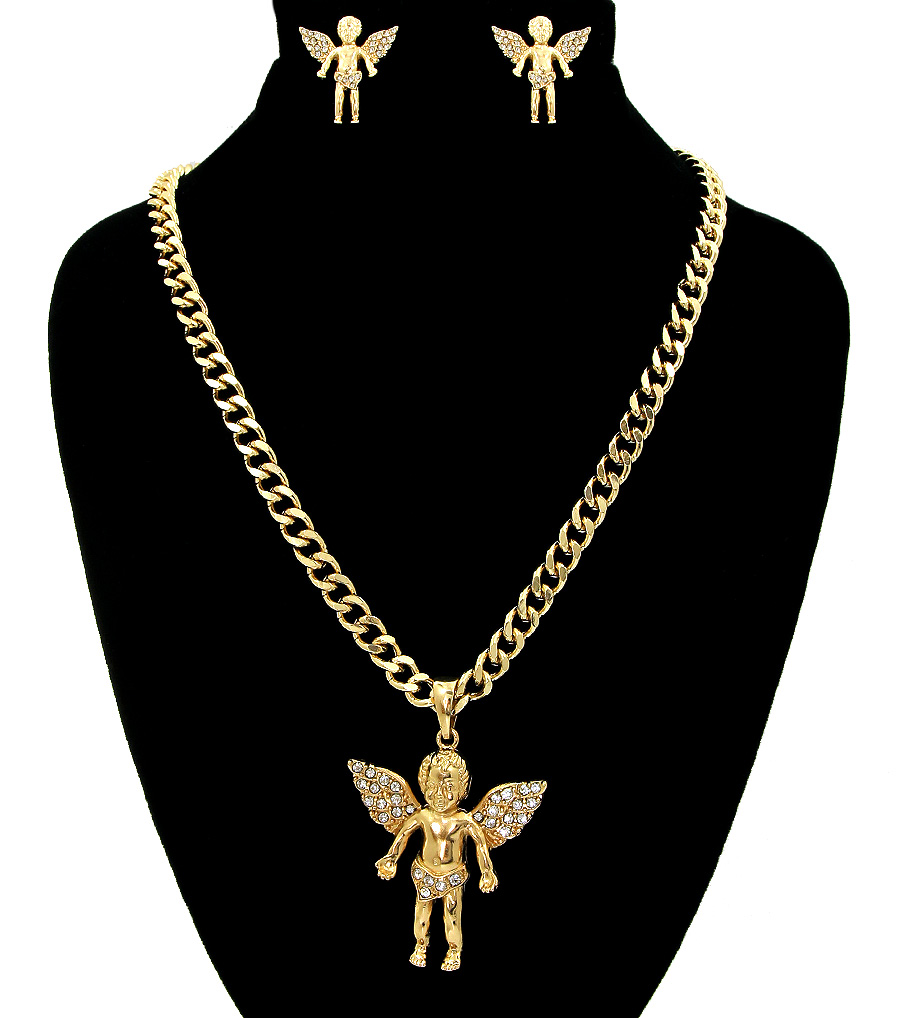 Baby angel them gold necklace sets