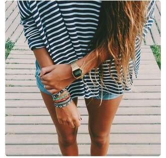 watch casio watch gold watch stacked bracelets braided bracelet striped shirt stripes brunette