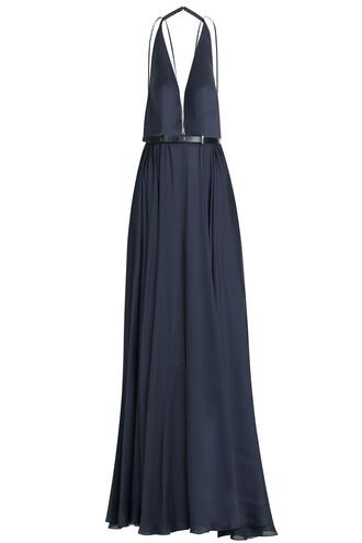 gown silk blue dress