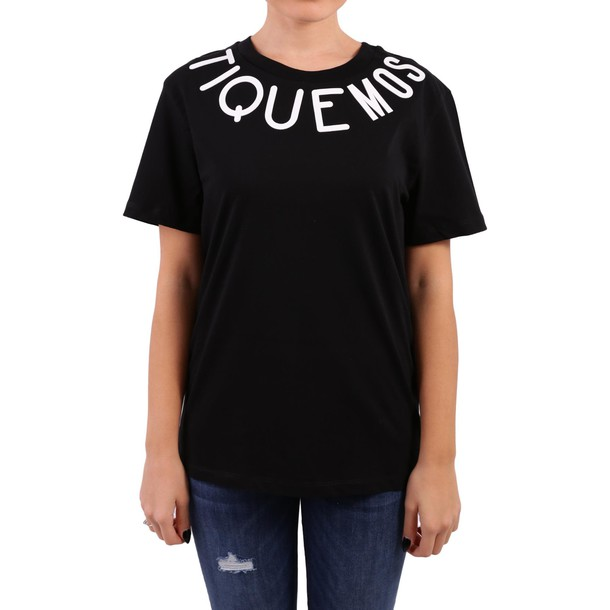 BOUTIQUE MOSCHINO t-shirt shirt cotton t-shirt t-shirt cotton black top