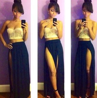 skirt slit skirt double slit skirt navy navy dress bustier strapless lace top bralette crop tops top slit maxi skirt