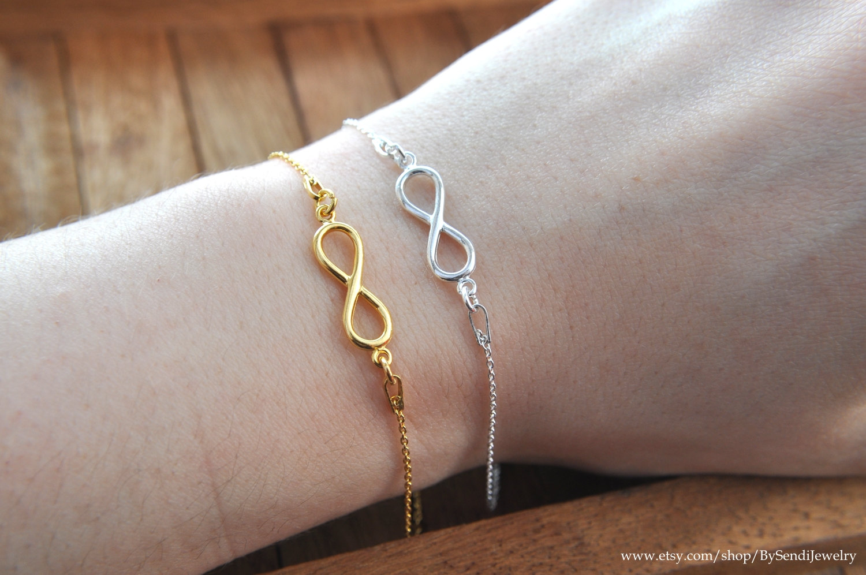Infinity bracelet, gold infinity bracelet, silver 925, infinity charm bracelet, gold plated silver, gold jewelry, tiny infinity, 24 gold